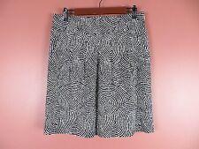 SK10267- ANN TAYLOR Woman 98% Cotton Pencil Skirt Black White Geo Pockets Sz 8