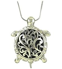 "Silvertone  Large Sea Turtle Pendant Necklace  19"" Chain Magnetic Bail"