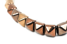 20 Bronze Metallic Pyramid Studs Duo Czech Glass Beads 7mm bgl0952