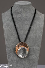 Statement Necklace Silver Rose Gold Tone Circle Necklace with Black Fabric Cord