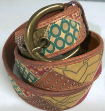 "Fossil Medium Size 32 Patchwork Brown Leather 1.5"" Belt"