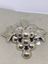Large Mexico Sterling Silver Grapes Brooch Pin Pendant W2B