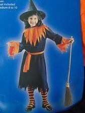 Witch Costume Children Girl's Halloween Dress Hat Belt Medium 8-10 #N42
