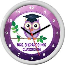 Owl Teacher Personalized Classroom Wall Clock Purple Teacher Lounge Gift