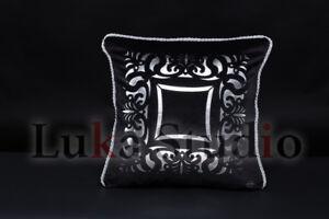 """Dekokissen""""Sorrento"""",Samt,Schwarz-Silber,45cmx45cm,Elegant,Luxuriös,Modern,"""