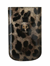 DOLCE & GABBANA Phone Case Cover Beige Leopard Leather Sock Universal RRP $250