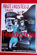 Abbott & Costello Meet Frankenstein 1960'S Lugosi Horror Rare Exyu Movie Poster
