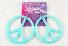 New Glow in the Dark Blue Peace Sign Earrings #E1213