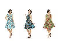 Ladies 1950's Retro Vintage Audery Hepburn Tropical Leaf Tea Swing Party Dress