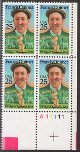 US. 2377. 25c. Francis Quimet, Golf Player. PB4 #A11111 LR. MNH 1987