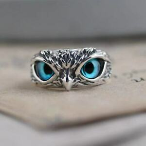 Titanium 925 Silver Blue Eyed Owl Rings Adjustable Women Fashion Jewelry gifts