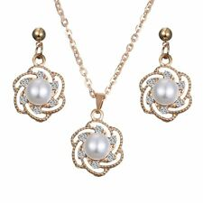 Yellow Gold Plated Crystal Pearl Flower Earrings Necklace Set Women Jewelry Gift