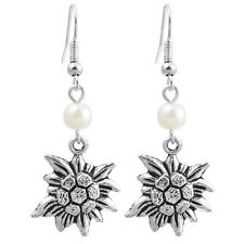 NEW!Ancient Silver EDELWEISS Pearls Pendant Earrings.Handmade from Germany