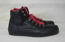 CONVERSE ALL STARS HIGH TOP BLACK LEATHER / RED LACES SNEAKERS WOMENS SIZE 6.5