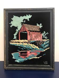 Vintage Black Velvet Painting 8 X 10 Covered Bridge Weathered Frame Kitsch Art
