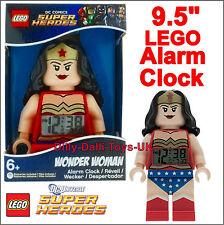 "LEGO DC Comics WONDER WOMAN 9.5"" Digital Alarm Clock Minifigure Kids Bedroom New"