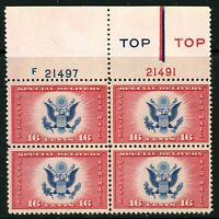 USAstamps Unused VF US 1936 Airmail Eagle Plate Block Scott CE2 OG MNH Type 4