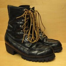 AUTH. VINTAGE TED WILLIAMS LEATHER HUNTING, BIKER BOOTS BLACK SZ 9D US VIC-THOR1