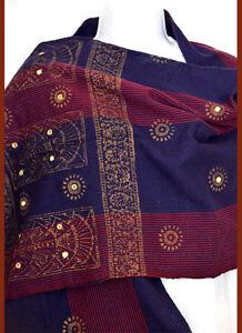 Cotton hand made Hand Woven Mirror Work Stole Wrap Blue Fuchsia India