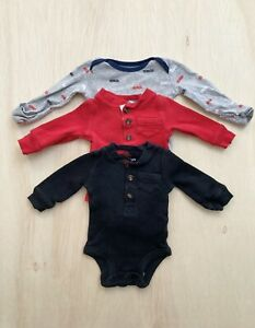 Carter's nb Newborn Baby Boy Long Sleeve One Piece Outfit Pack of 3