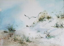 "Painter Suzanne Obrand, Holocaust Survivor, Watercolor ""Seagulls on Dunes #2"""