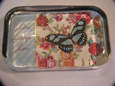 PUNCH STUDIOS GLASS PAPERWEIGHT BUTTERFLY FLOWERS LIVE LAUGH LOVE