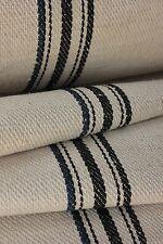 Organic Vintage STAIR RUNNER HEMP fabric per ONE YARD BLUE BLACK 1yd grain sack