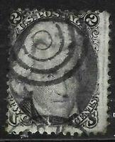 Sc #73 Blackjack Target Fancy Cancel SON 2 Cent Jackson 1861 Civil War US 2502