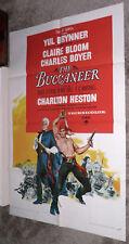 THE BUCCANEER original 1959 one sheet movie poster YUL BRYNNER/CHARLTON HESTON