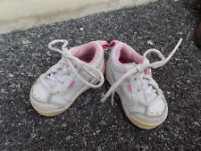 Classic Nike Toddler Shoes White w/ Pink trim Walkers sz 2 Low Top Tie Sneakers