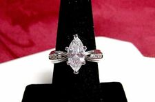 SILVER PLATED MARQUISE CUT CLEAR STONE ENGAGEMENT RING WITH ACCENTS SIZE 7.5