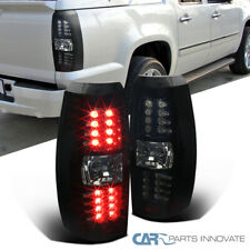 Glossy Black For Chevy 07-12 Avalanche Pickup LED Smoke Tail Lights Brake Lamps