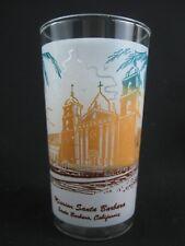 Vintage California Mission Glass Tumbler Frosted 12 oz Santa Barbara MCM Cocktai