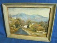 Adirondack Village of Clintonville, NY Vintage Folk Art oil Painting