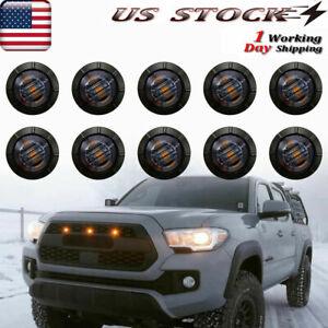 "10X 3/4""Smoked Lens Car Front Bumper Grille Amber Lights Universal 12V LED Light"