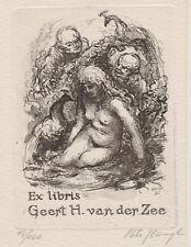 P. HAMPL CZ Susanna im Bad Pfau exlibris Erotic Nude Bathing C3 Etching Peacock