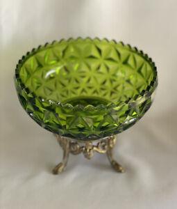 Hollywood Regency Centerpiece Pedestal Bowl Glass L & LWMC Brass #100- #9151