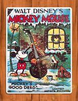 Walt Disney Mickey 's Good Deed Cartoon Movie Art TIN SIGN