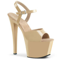 Pleaser SKY-309 Women's Sexy Cream Patent High Heel Platform Ankle Strap Sandals