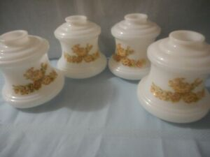 4 vintage  milk glass flower  61/2h  3 1/8 filler classic bell globe fan EUC