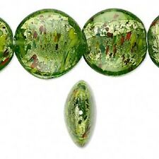 Six 28mm Lampwork Glass Puffed Flat Beads - Forest Green with Silver Foil - New