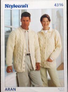 """Knitting Pattern Men's Ladies Aran Cardigan Size 26""""/52"""""""
