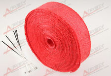 "Fiberglass Exhaust Thermo Wrap Tape High Heat 2"" x 25 Foot Cloth Roll Red E"
