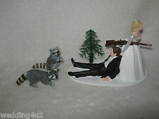 RACOON FUNNY WEDDING RECEPTION COON HUNTER HUNTING CAKE TOPPER