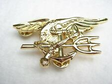 NAVY SEAL SEALS TRIDENT ANCHOR EAGLE LARGE GOLD TONE QUALITY PIN Gift IDEA