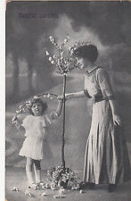 CF27.Vintage French Greetings Postcard. Sincere Friendship.Girl and blossom tree