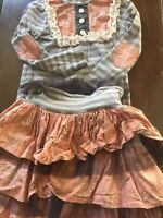 Beautiful Persnickety Girls 7 8 10 Gray Pink Lace Striped Outfit Top Skirt