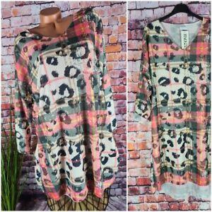 long Pullover Tunika Kleid feinstrick Italy Vokuhila Karo LEO Print 40 42 44