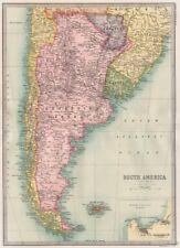 CAPE HORN. Argentina Chile Paraguay & Uruguay. BARTHOLOMEW 1890 old map