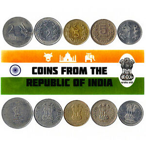 5 INDIAN COIN LOT. DIFFER COLLECTIBLE COINS FROM ASIA. FOREIGN CURRENCY